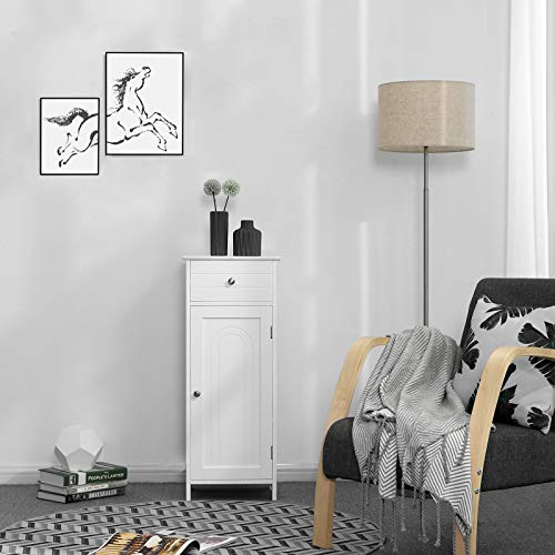 VASAGLE Bathroom Floor Cabinet Wooden Storage Organizer Unit with Drawer and Adjustable Shelf for Living Room White UBBC48WT