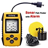 Fish Finder, Fishing Gifts for Men, Depth Fish Finder for Boat, Portable Fishfinder for Kayaks, Ice Fishing Partner, Sonar Fish Finder with Alarm Transducer, LCD Display, Gift for Dad Husband Son