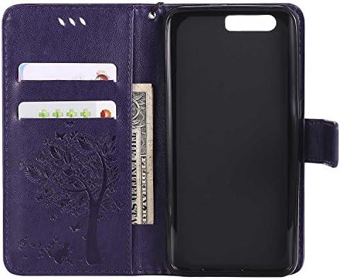 OMATENTI Huawei Honor 9 ケース 手帳型ケース ウォレット型 カード収納 ストラップ付き 高級感PUレザー 押し花木柄 落下防止 財布型 カバー Huawei Honor 9 用 Case Cover, ブルー