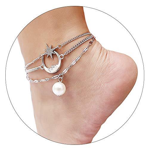 CrazyPiercing Anklet Bracelet, Star Moon Pearl Ankle Bracelet for Women, 3-Layer Chain Ankle Bracelets, Beach Anklet Bracelet, Adjustable Barefoot Sandals Beach Foot Gift for Women ()