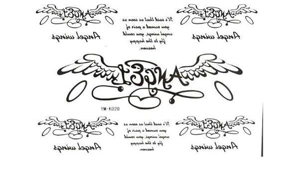 Halloween Ángel Alas letras del alfabeto Tatuajes Temporales, 2pcs ...