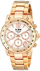 a_line Women's AL-80020-RG-22MOP Liebe Chronograph White Mother-Of-Pearl Dial Rose Gold Ion-Plated Stainless Steel Watch