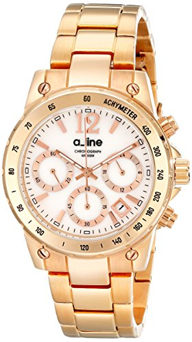 White Mother Of Pearl Chronograph - a_line Women's AL-80020-RG-22MOP Liebe Chronograph White Mother-Of-Pearl Dial Rose Gold Ion-Plated Stainless Steel Watch