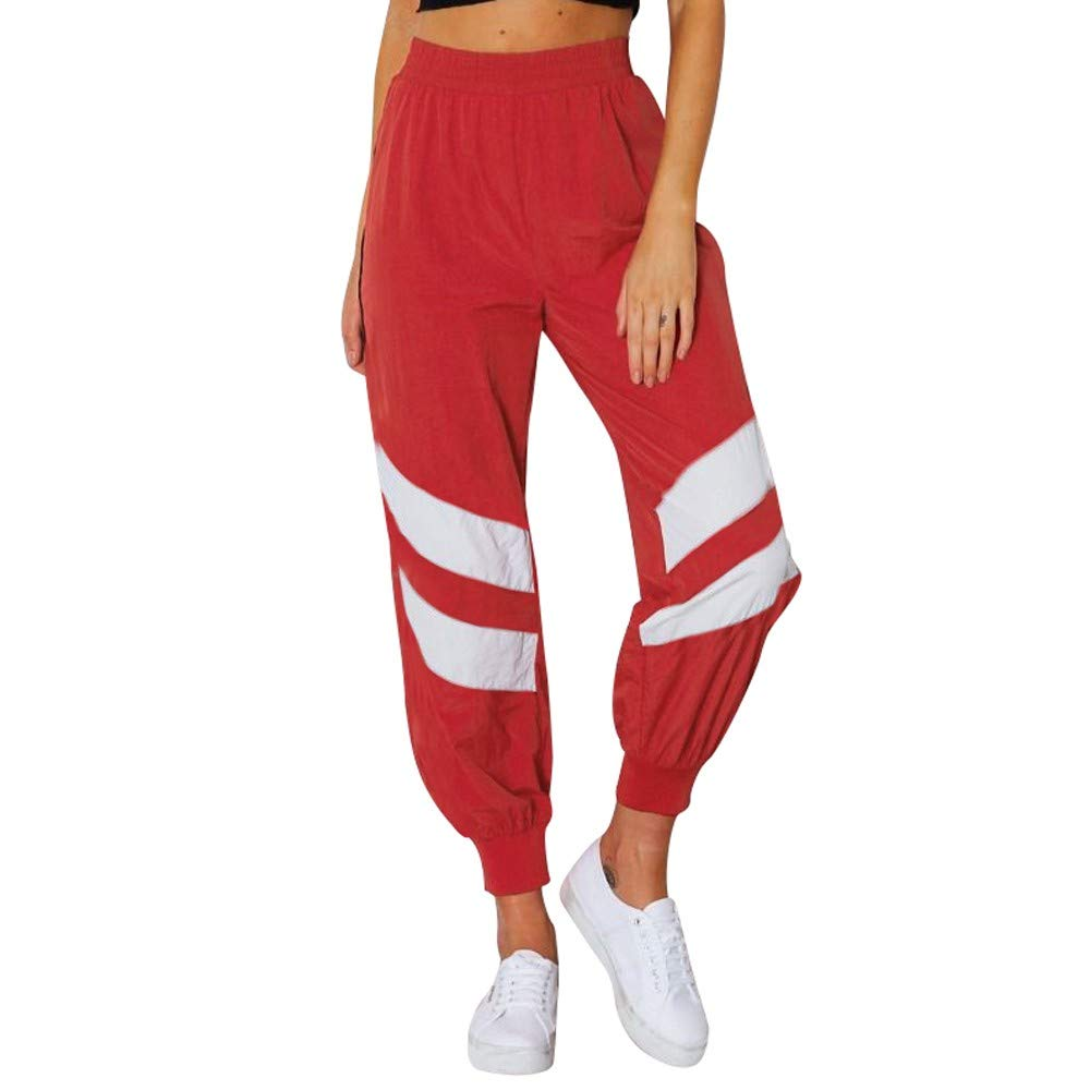 YANG-YI Women Striped Patchwork Pants Loose Slacks High Waisted Sweatpants Sports Trousers
