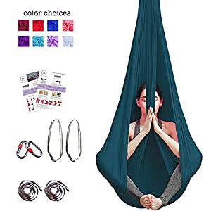 Aerial Yoga Hammock – Premium Aerial Silk Yoga Swing for Antigravity Yoga, Inversion Exercises, Improved Flexibility & Core Strength – Extension Straps, Carabiners and Pose Guide Included