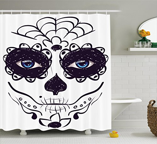[Day Of The Dead Decor Shower Curtain by Ambesonne, Dia de los Muertos Sugar Skull Girl Face with Mask Make up, Fabric Bathroom Decor Set with Hooks, 75 Inches Long, Black White and] (Day Of The Dead Female Mask)