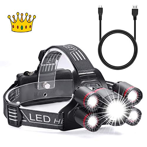 Newest (One Day Sales!!) Super Bright Headlamp, Rechargeable