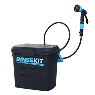 RinseKit Portable Outdoor Shower   2-3 gallons of warm or cold water   Pressurized Spray for 4-9 minutes   No Pumping - No Batteries   Great for Camping, Surfing, Pets, Sport   Convenient and BPA Free