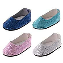 Dovewill 4 Pairs of Adorable Bling Bling Sequins Shoes for 18'' American Girl Journey Dolls Clothing Dress Up ACCS