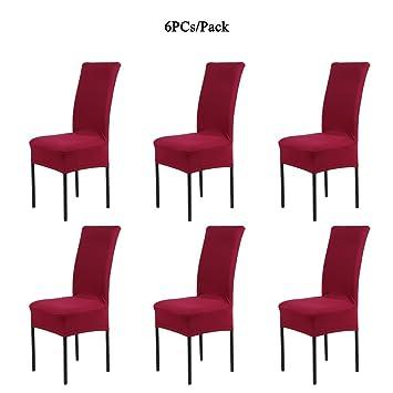 Cosyvie Set 6 PCS Bezüge Decken Stuhl Ausziehbar Und Waschbar Für Schutz Stuhl  Esszimmer Weinrot
