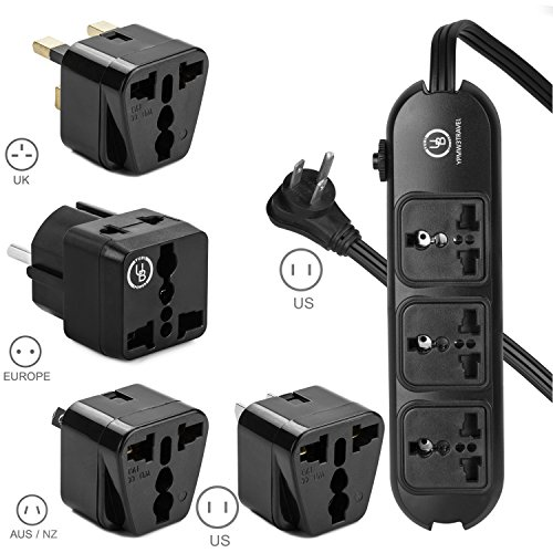 Yubi Power Universal Power Strip 3 Sockets - 100v to 220v/250v and 2500 Watts - Us Plug - Plus 3 Universal Plug Travel Adapters - Type E/f for Eu - Type G for Uk - Type I for Au - 4 Pack Set (Type G Hair Dryer compare prices)