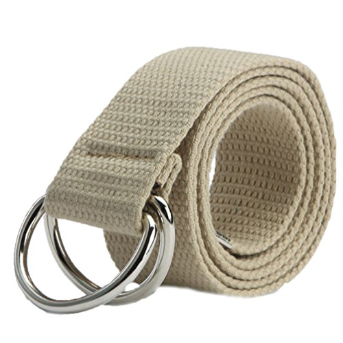 Floralby Men Women Canvas Belts Adjustable Double D-Ring Buckle Belt Waistband Strap