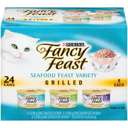 Fancy Feast Grilled Seafood Feast Variety Cat Food 24-3 oz. Cans [Contains: 8 each: Grilled Tuna Feast, Grilled Salmon Feast, and Grilled Seafood Feast] by Fancy Feast