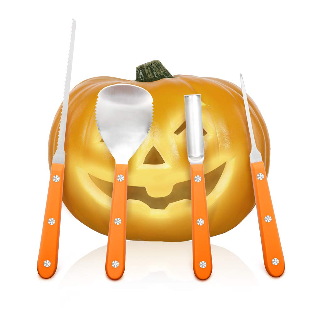 Halloween Pumpkin Carving Kit, Heavy Duty Stainless Steel Pumpkin Toolswith 10 kinds of Halloween Expression Stencils for Halloween Decoration, Easily DIY Halloween Pumpkin Jack-O-Lantern(4 Pieces) by Pandawill