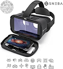 3D VR Glasses Virtual Reality Headset for VR Games & 3D Movies by Sneba - Focal and Pupil Distance Adjustable - For all IOS / Android / Windows Smartphones within 3.5~6.0 inches
