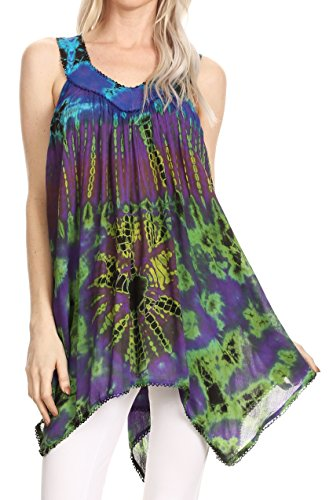 Sakkas 17790 - Nalu Sleeveless Relaxed Fit Multi Color Tie Dye V-Neck Blouse | Cover Up - Purple/Yellow - OS