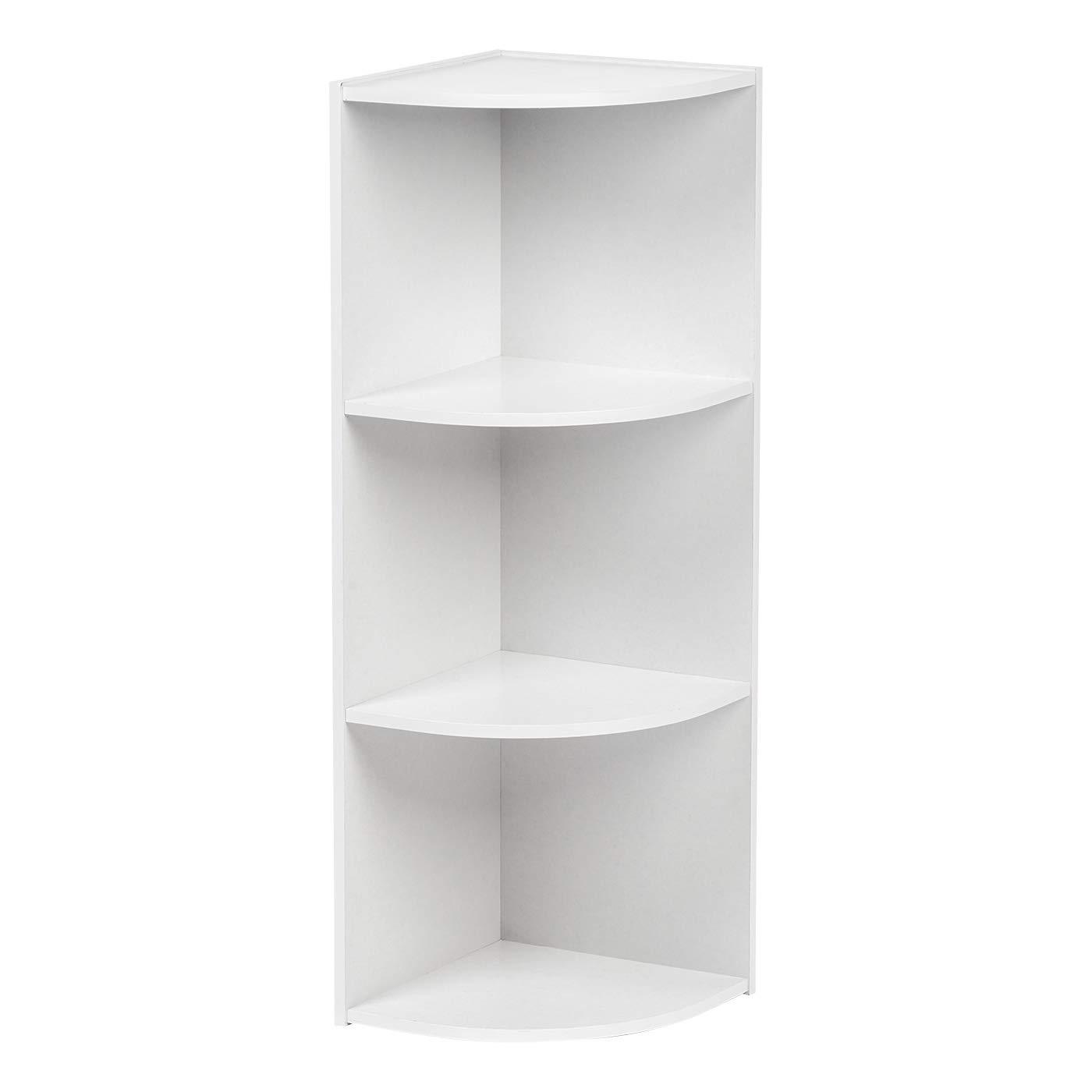 IRIS USA Corner Curved 3-Tier Shelf Organizer, White