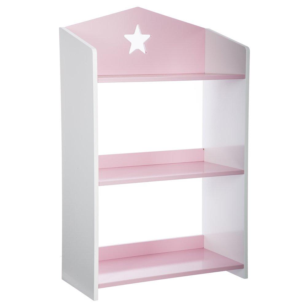 Bücherregal aus Holz mit 3 Ablageflächen – Sternen-Motiv – Farbe ROSA und WEIß ATMOSPHERA