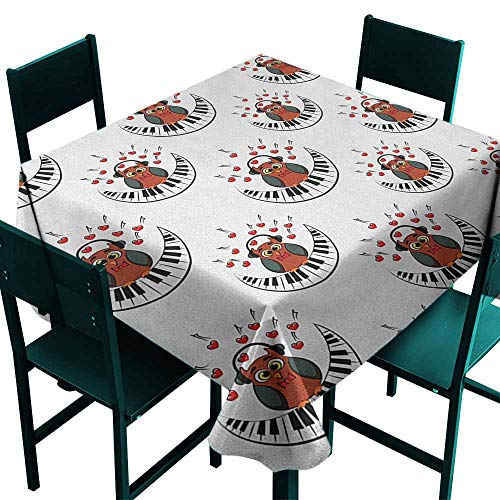 - Warm Family Owls Easy Care Tablecloth Musician Pianist Owl with Headphones and Playing a Moon Shaped Piano Clipart Style Indoor Outdoor Camping Picnic W36 x L36 Brown Grey Red