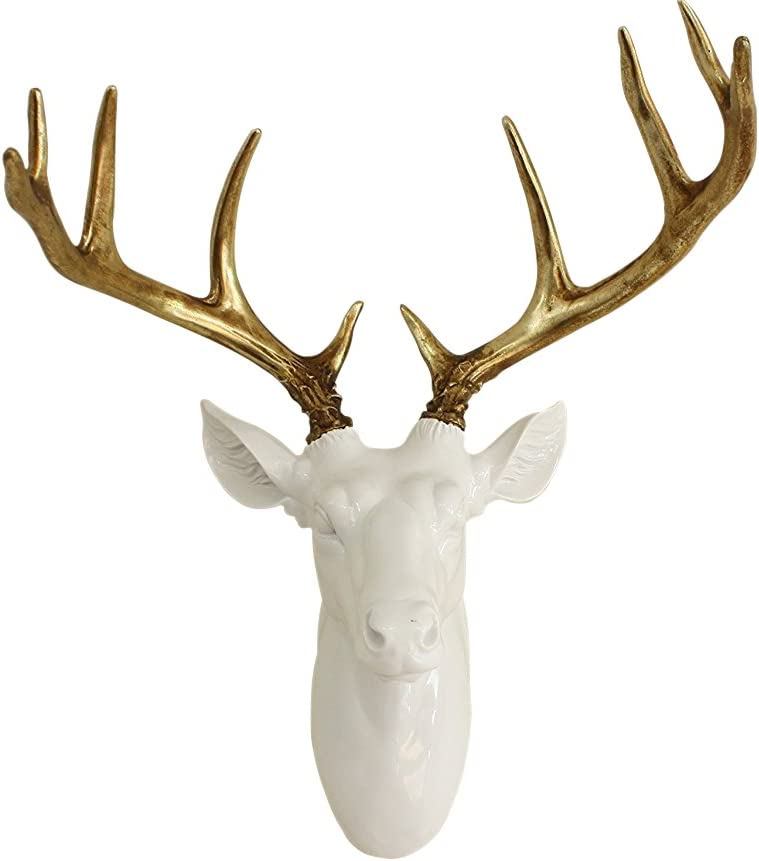 Pine Ridge Large White Deer Bust Gold Antlers - Unique Animal-friendly Light-weight Wall Mount Hanging Sculpture Beautifully Hand Painted and Crafted Polyresin - Great For Arts and Crafts