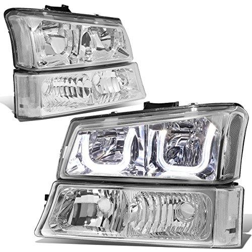 (For 03-06 Silverado/Avalanche 4PCS Chrome Housing Clear Corner Dual LED U-Halo Headlight + Bumper)
