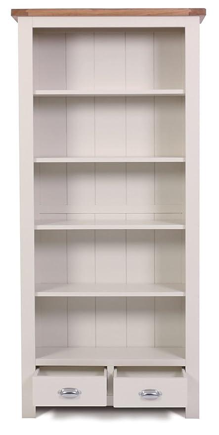 Ascot Oak 2 Drawer Large Bookcase And Stone White Painted Finish