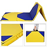 Giantex 4'x10'x2 Gymnastics Mat Thick Folding Panel For Gym Fitness with Hook & Loop Fasteners (Yellow/Blue)