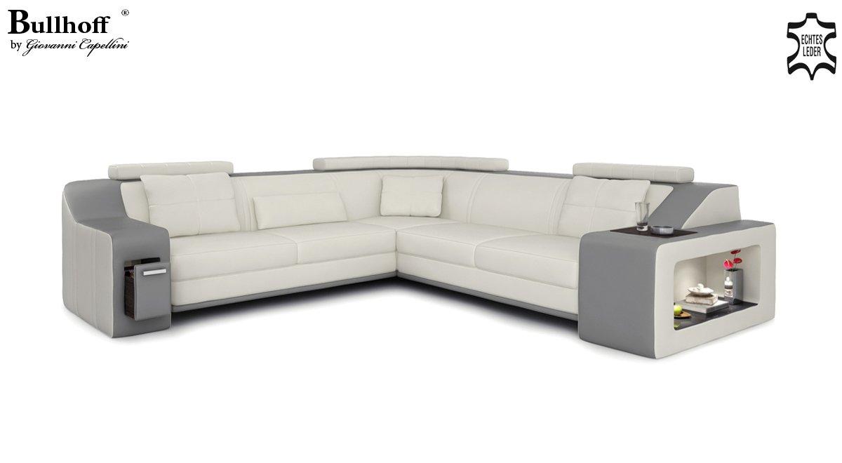 moderne ledercouch grau. Black Bedroom Furniture Sets. Home Design Ideas