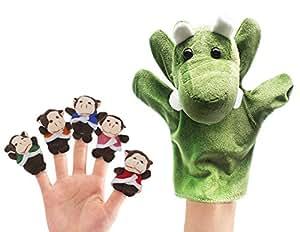 "RIY Nursery Rhyme ""Five Little Monkeys Swing In A Tree"" 6Pcs Animal Finger Puppet Toy Educational Toys Storytelling Doll"