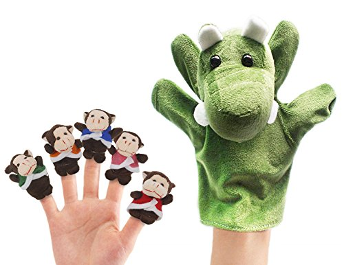 RIY Storytime Animal Finger Puppets Set - 6 Piece Five Little Monkeys Setting in a Tree Educational -