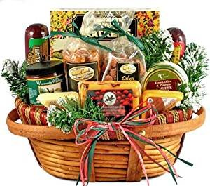 hometown holiday gourmet christmas gift basket of wisconsin cheeses sausage and nuts
