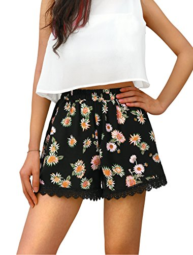 Allegra K Women Stretchy Waist Design Floral Prints Trendy Daisy Shorts Black S