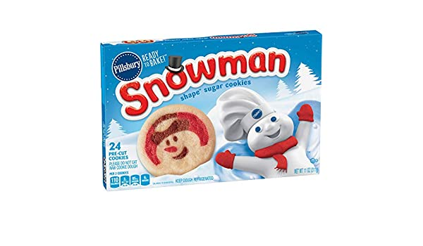 Pillsbury Ready To Bake Sugar Cookies Snowman Shape 11 Oz 24 Ct