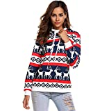 Doober Women Long Sleeve Drawstring Hoodie Elk Print Pullover Blouse Jumper Stylish (L, White blue)