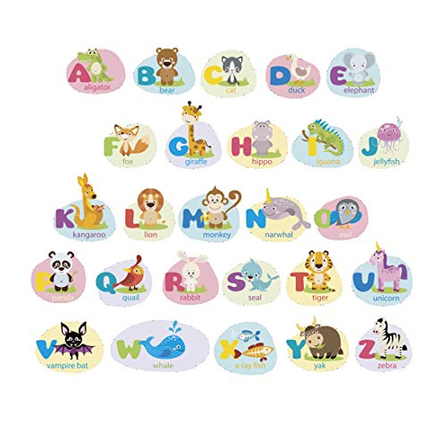 - Enerhu ABC Stickers Alphabet Decals Animal Wall Decals Classroom Wall Decor Cartoon Letters Stickers