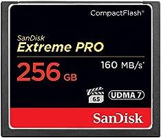 Sandisk Extreme PRO - Memoria Compact Flash de 256 GB (160 GB/s, UDMA 7, alcance de temperatura operativa: -25-85 °c), negro
