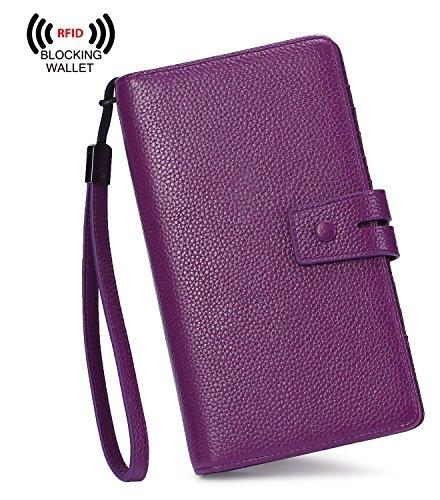 AINIMOER Women's Big RFID Blocking Leather Zip Around Wallets for Womens Clutch Organizer Checkbook Holder Large Travel Purse(Lichee Purple) by AINIMOER (Image #1)
