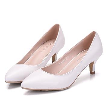 Damen Brautschuhe /Weiße Hochzeitsschuhe/Bequeme Strass High Heels/Pearl Silk Lace /Kristall Hochzeit Schuhe BrautTipp flache Schuhe mit großen, weißen 40