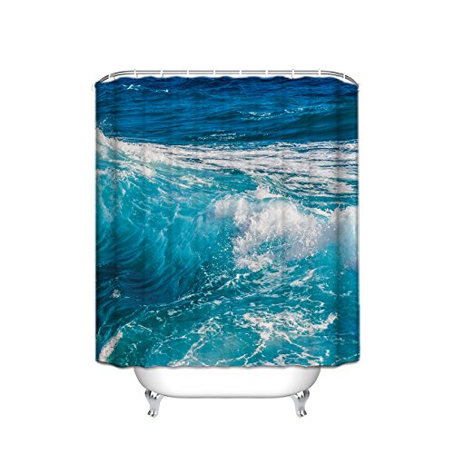 Ocean Theme Shower Curtain, Sea and Water Splash Picture for Surfers Print, Polyester Fabric Bathroom Set with Hooks, 36 x 72 Inches, Aqua Blue Ivory