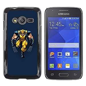 Be Good Phone Accessory // Dura Cáscara cubierta Protectora Caso Carcasa Funda de Protección para Samsung Galaxy Ace 4 G313 SM-G313F // Yellow Superhero With Claws