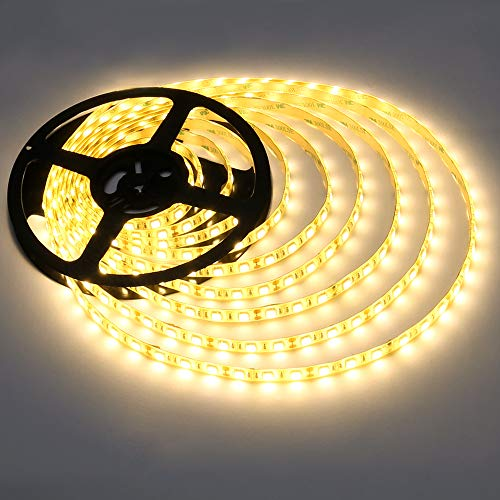 LE 12V LED Light Strip, Flexible,  Waterproof, 300 LEDs SMD 5050, 5m Tape Light for Home, Kitchen, Party, Christmas and More, Warm White