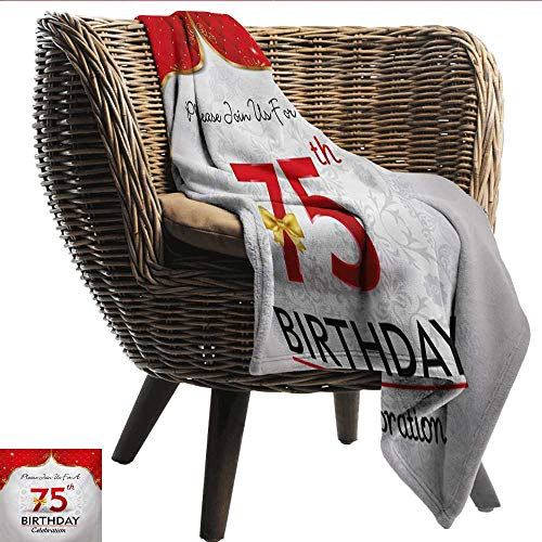 smllmoonDecor Super Soft Blankets 75th Birthday Royal Classical Birthday Party Floral Invitation Ceremony Please Join Us Digital Printing Blanket W60 xL51 Sofa,Picnic,Camping,Beach,Everyday use -