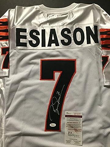 Autographed/Signed Boomer Esiason Cincinnati Bengals White Football Jersey JSA COA - Boomer Football