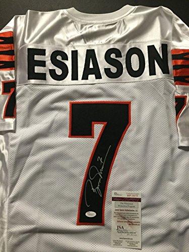 Autographed/Signed Boomer Esiason Cincinnati White Football Jersey JSA COA