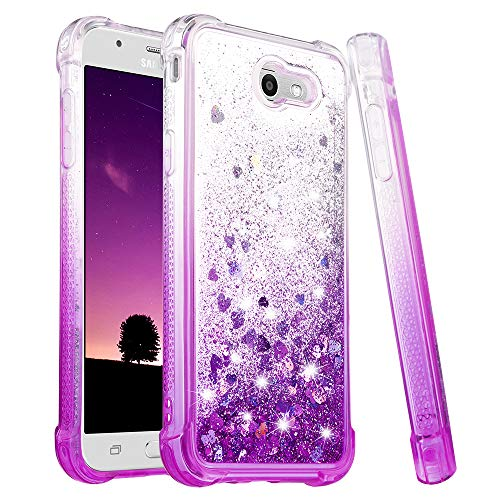 Ruky Galaxy J7 Sky Pro Case, J7 Prime, J7 V, J7 Perx, Halo Case, Glitter Bling Girls Women Liquid Case Quicksand Series Soft TPU Protective Cute Case for Samsung Galaxy J7 2017 (Gradient Purple) ()