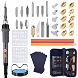 43PCS Wood Burning Kit, Woodburning Tool with Soldering Iron, Wood Burning/Soldering/Carving/Embossing Tips, Stand, Pencil, Carbon Transfer Paper, Stencil, Carrying Case