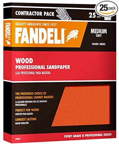 9  x 11 Fandeli 36011 Medium Grit Wood Sandpaper Sheets 25-Sheet 9  x 11 Fandeli International Corporation