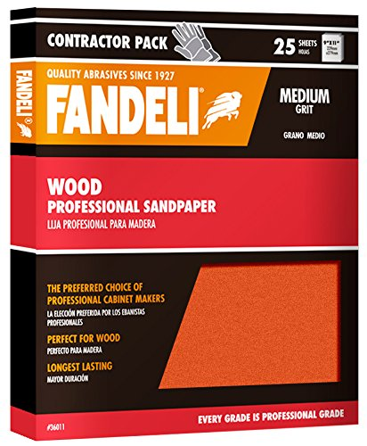 Fandeli 36011 Medium Grit Wood Sandpaper Sheets, 9''  x 11'', 25-Sheet by Fandeli