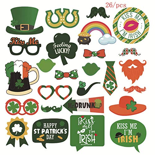 Ireland Photo Booth Props, Funny Ireland Photobooth For Ireland BAR/Teacher Prizes/Classroom Party Favors,Party Decorations Photo Booth Props Irish Day Mustaches -