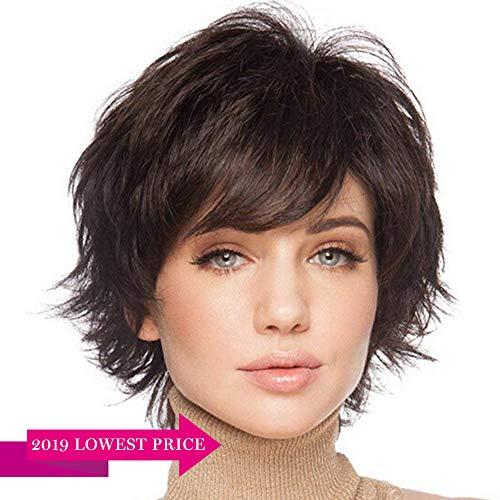 - BLONDE UNICORN Natural Short Wigs for Women Human Hair Dark Brown